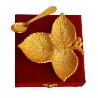 German Silver Gold Plated Three Leaf Serving Plate