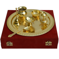 German Silver Golden Pooja Thali