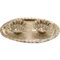 German Silver Oval Shaped Plate Chopra For Pooja
