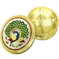 Circular gift box with meena worked wooden base