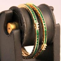 Green ad studded bangles