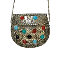 Oxidized and Stone Embedded Purse with Chain Strap