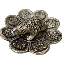 Oxidized Tortoise With Flower Shaped Plate For Vastu