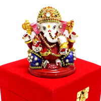 Lord Ganesh In Metal Body With Meena Work