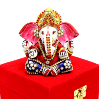 Lord Ganesh In Sitting Posture With Meena Work