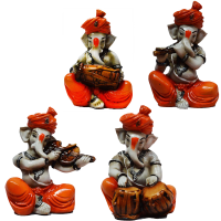 Multiple instrument playing Lord Ganesha