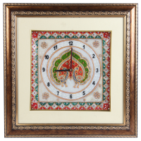Marble Clock with Peacock Painting and Wooden Frame