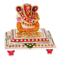 Marble & Stone Crafted Lord Ganesh Idol Sitting On Chowki