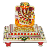 Marble Lord Ganesh Idol With A Turban & Sitting On Chowki