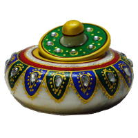 Green and blue marble sindoor holder