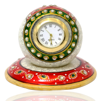 Marble Paper Weight Table Clock Crafted With Meenakari Stone