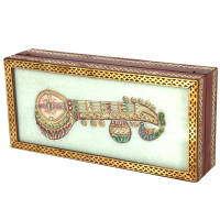 Marble jewellery box with sitar kundan musical instrument