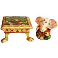 Meenakari Metal Chowki with Wooden Ganesh Idol