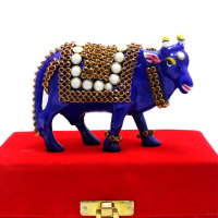 Metal Cow With Stone And Meena Work