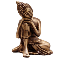 Metal Resting On Knee Buddha Statue