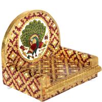 Metal Sheet on Wooden Singhasan with Peacock Design Meenakari Work