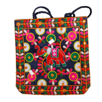 Handcrafted tote bag with elephant design