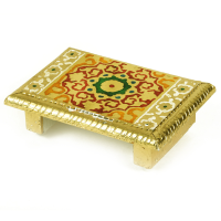 Multi Coloured Wooden Meenakari Chowki