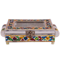 Multicolor Wooden Dry Fruit Box With Meenakari Work-Make It an Integral Part of Your Home