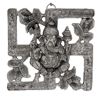 Oxidised Wall Hanging With Ganesha On Swastik Symbol