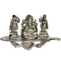 Oxidized Lord Ganesh with Ridhhi Sidhhi Figurines
