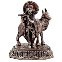 Oxidized krishna with cow playing flute