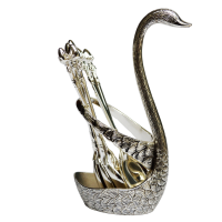 BULK ENQUIRY ADD TO CART Oxidized Swan Shaped Spoon Stand with 6 Spoons