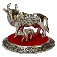 Oxidized White Metal Cow and Calf Traditional Showpiece