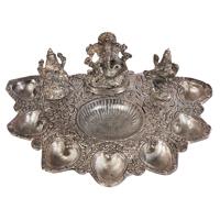 Oxidized Laxmi Ganesh Saraswati Pooja Thali Online