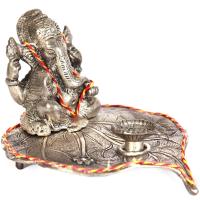 Oxidized Handmade Peepal Leaf Diya Lord Ganesha Online