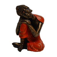 Poly resin Buddha on knee