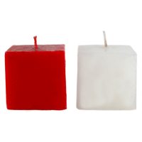 Red & white cube shaped candle pair