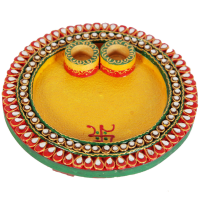 Wooden Kundan Craft Round Pooja Thali Online For Ladies