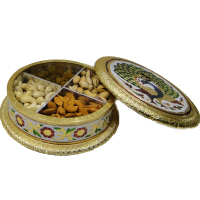 Round shaped gift box with wooden base, brass lid and meena work