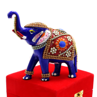 Royal Blue Standing Elephant With Stone And Meena Designs