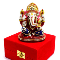 Seated Lord Ganesh With Designer Head Band