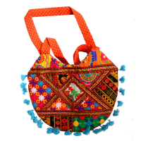 Semi-Circular Multi-colour Handcrafted Party Wear Bag