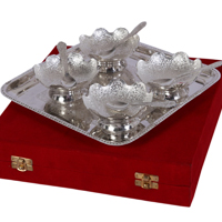 German Silver Bowl Spoon and Tray Gift Set