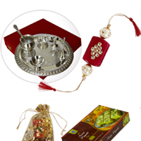 Beautiful Pooja Thali with Sweets for Rakhi