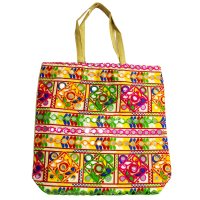 Square handle bag with embroidery