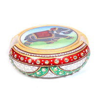 Marble Meenakari Crafted Tea coaster Online Have Elephant