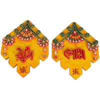 Wooden Kundan Handicraft Shubh Labh Door Toran For Diwali