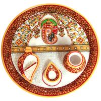 Traditional Marble Meenakari Ganesh Pooja Thali Online