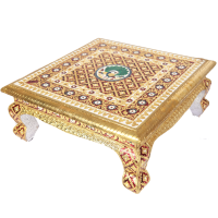 Meenakari Work Metal Sheet on Wooden Puja Chowki