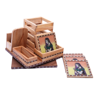 Traditional Wooden Office Set with Beautiful Tea Coaster