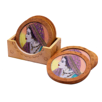 Traditional Wooden Tea Coaster with a Lady Painting