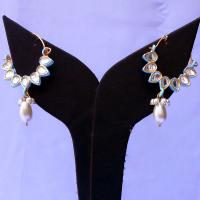 Turquoise kundan bali earrings