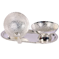 Twin Bowl German Silver Pudding Set