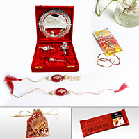 German Silver Thali with Diya for Rakhi