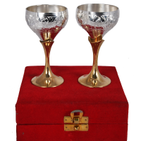 Two Tone Wine Glass Set Made from Germen Silver